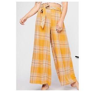 Free People Wide Leg Plaid Pant